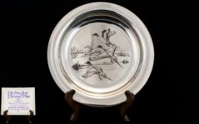 The Peter Scott Silver - Ltd Edition 1972 Christmas Plate.