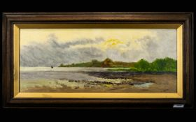 G. Hare Early 20th Century Oil on Board, signed. Coastal landscape with a brewing storm and a