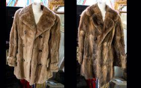 Three Fur Coats comprising 1. Musquash three quarter length jacket with polysatin lining.