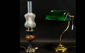 Bankers Lamp, Reproduction lamp of typical form with brass base and green glass shade.