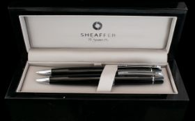 Sheaffer Chrome Plate Trim Ball Point Pen/Pencil Set complete with black gloss case with grey