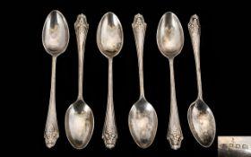 Art Deco Period Silver Set of 6 Teaspoons in Original Case. Hallmark London 1932.