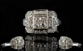 French Art Deco Diamond Cluster Ring, Pave Set With Round Brilliant Cut Diamonds,