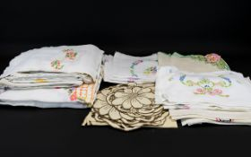 A Mixed Collection Of Linens A varied lot to include cutwork doilies,