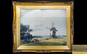 Hubert Coop (British 1872 - 1953) Original Watercolour On Paper Titled 'Norfolk Broads' Artist