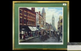 Tom Dodson Signed Print 'Fishergate Preston' Framed and mounted under glass, pencil signed to bottom