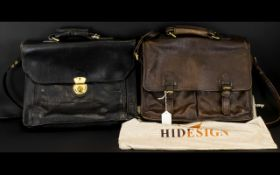 Hidesign Leather Briefcase Flapover soft case in dark brown soft pebbled leather with brass tone