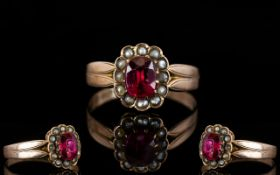 Antique Period 9ct Rose Gold Stone Set Cluster Ring, The Central Pink / Red Coloured Stone,