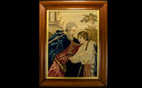 Antique Framed Tapestry Polychrome cross stitch panel depicting biblical/historical subject matter
