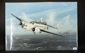 Terry Farrimond (20thC) Oil on Daler Artist's Board 'Lockheed Hudson Mark 6', entered RAF 1943;