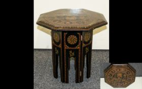 Balinese Small Occasional Table Modern painted table of octagonal form with painted depictions of