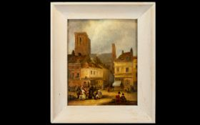 Untitled Oil On Panel In The Manner Of John Sell Cotman (1782 - 1842) Depicting figures in European