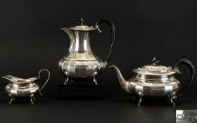 1930s Period Silver 3 Piece Tea & Coffee Service with Ribbed Body Design. Raised on hoof feet.