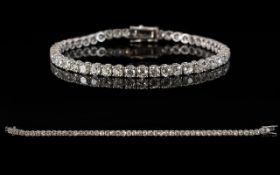 18ct White Gold Diamond Tennis Bracelet, Set With 48 Round Cut Diamonds, Estimated Diamond Weight