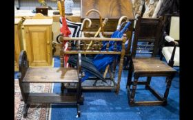 A Collection Of Hall Furniture to include carsed seat,