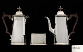 Art Deco Period Ollivant and Botsford Stylish Superb Bachelors Silver Three Piece Coffee Set of