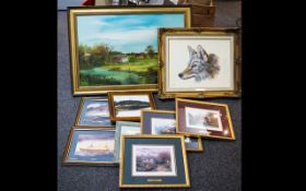 A Large Mixed Collection Of Prints And Artworks A varied lot to include large framed landscape