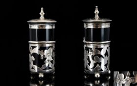 Edwardian Pair of Open worked Silver Pepperettes Complete with Blue Liners. Hallmark Chester 1905.
