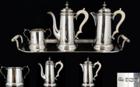 Art Deco Period Stunning Quality Bachelors Solid Silver Four Piece Coffee And Tea Service In the