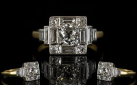 Art Deco Period Diamond Set 18ct Yellow And White Gold Ring Estimated total diamond weight 1.