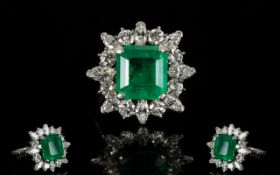 18ct White Gold Emerald and Diamond Set Cocktail Ring,
