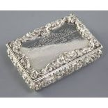 A good Victorian silver presentation table snuff box in original fitted case, by Nathaniel Mills,