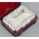 A good early Victorian silver table snuff box in original fitted case, by Nathaniel Mills,