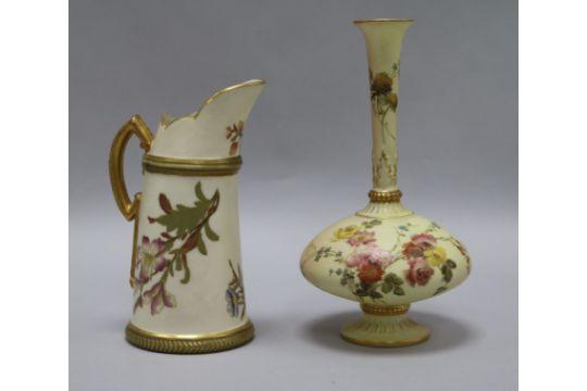 A Royal Worcester Blush Flowers Vase And Ewer Vase Height 19cm