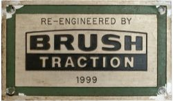 Diesel worksplate RE ENGINEERED BY BRUSH TRACTION 1999 ex Class 57 57007 which was rebuilt from