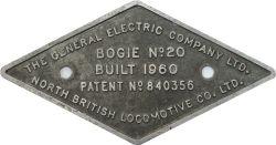 Electric Locomotive Bogie plate THE GENERAL ELECTRIC COMPANY LTD NORTH BRITISH LOCOMOTIVE CO LTD