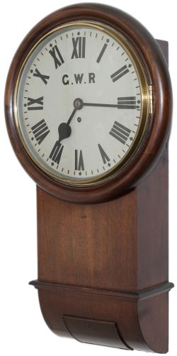 Great Western Railway 12in mahogany cased English fusee drop dial trunk railway clock. The case,