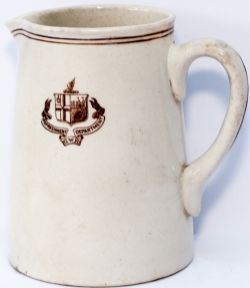 GWR china milk jug marked on the front GWR twin shield CoA REFRESHMENT DEPARTMENT GWR. Base marked
