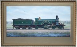 Original oil painting by F Moore of Great Northern Railway Stirling Single No 1007 in full GNR lined
