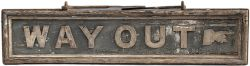 GWR wooden platform hanging sign WAY OUT with pointing hand. Double sided, measures 46in x 9.75in.