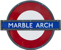 London Underground enamel target/bullseye sign MARBLE ARCH measuring 24in x 20in and in original