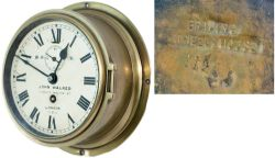 BR(S) brass 6in ships clock, original dial lettered B.R.(S) JOHN WALKER 1 SOUTH MOLTON ST LONDON
