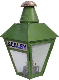 NER platform lamp complete with interior reservoir and chimney and original etched lamp glass SCALBY