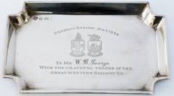 GWR solid silver miniature tray with full Great Western Railway Twin Shield Coat of Arms and GENERAL