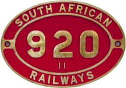 South African brass cabside numberplate SOUTH AFRICAN RAILWAYS 920 11 ex 2-8-2 built by North