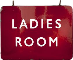 BR(M) enamel FF LADIES ROOM, double sided, complete with both hanging hooks. Measures 24in x 18in
