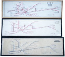 LNER & BR carriage prints x 3. Suburban Lines (Great Eastern section) route diagram circa late 1920s
