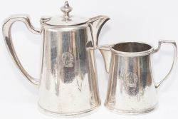 GWR silverplate coffee pot and milk jug, both clearly marked to the front GWR Hotels in roundel