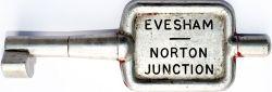 GWR/BR-W Tyers No9 single line aluminium key token EVESHAM - NORTON JUNCTION, configuration A. In ex