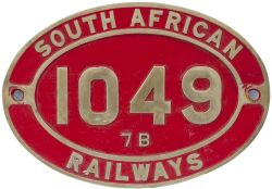 South African brass cabside numberplate SOUTH AFRICAN RAILWAYS 1049 7B ex 4-8-0 built by Neilson