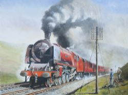 Original oil painting CITY OF LIVERPOOL 46247 AT BEATOCK by Joe Townend GRA. Oil on canvas