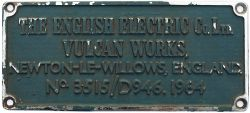 Diesel worksplate THE ENGLISH ELECTRIC CO LTD VULCAN WORKS NEWTON-LE-WILLOWS ENGLAND No 3515/D946.