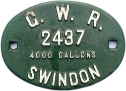 Great Western Railway cast iron tenderplate GWR 2437 4000 GALLONS. These were paired with Kings,