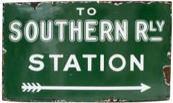 SR enamel sign TO SOUTHERN RAILWAY STATION with right facing arrow, ex Margate. In very good