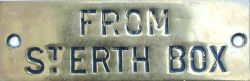 GWR hand engraved brass shelf plate FROM ST ERTH BOX. Ex Hayle signal box, measures 4.5in x 1.5in.