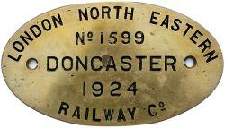 Worksplate LONDON NORTH EASTERN RAILWAY CO DONCASTER No1599 1924 ex J50 0-6-0T number 68939/ 3240/